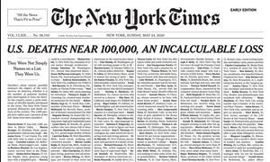 """New York Times """"gây choáng"""" với trang nhất đăng danh sách 1000 người chết vì Covid-19"""