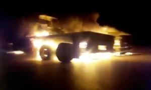 Clip đoàn xe quân sự của Mỹ bị tấn công phá hủy ở Iraq
