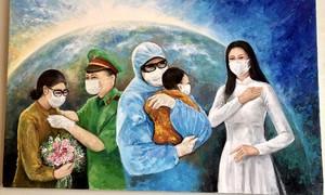 Hoa hậu Khánh Vân bán tranh ủng hộ Quỹ phòng chống dịch