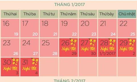 Hai phương án nghỉ Tết Âm lịch 2017