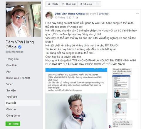 Ca sỹ Đàm Vĩnh Hưng bị các dự án Pincoin và iFan lợi dụng hình ảnh nên phải đăng đàn đính chính