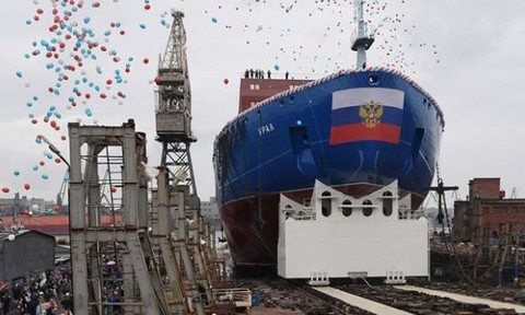 Nga hạ thủy tàu phá băng hạt nhân lớn nhất thế giới