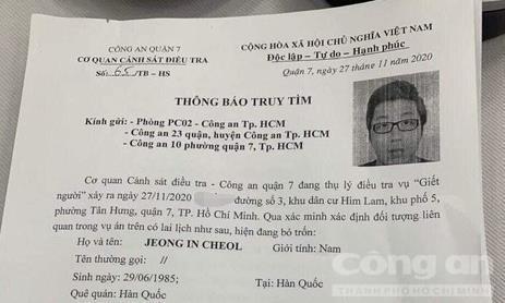 Truy tìm người đàn ông Hàn Quốc nghi liên quan vụ giết người, chặt xác ở Sài Gòn