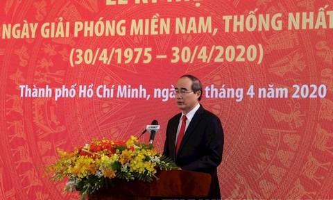 Ủy viên Bộ Chính trị, Bí thư Thành ủy TPHCM Nguyễn Thiện Nhân phát biểu tại lễ kỷ niệm. Ảnh: hcmcpv.org.vn