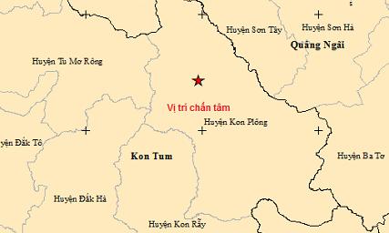 Động đất 3,7 độ richter tại huyện Kon Plông của tỉnh Kon Tum